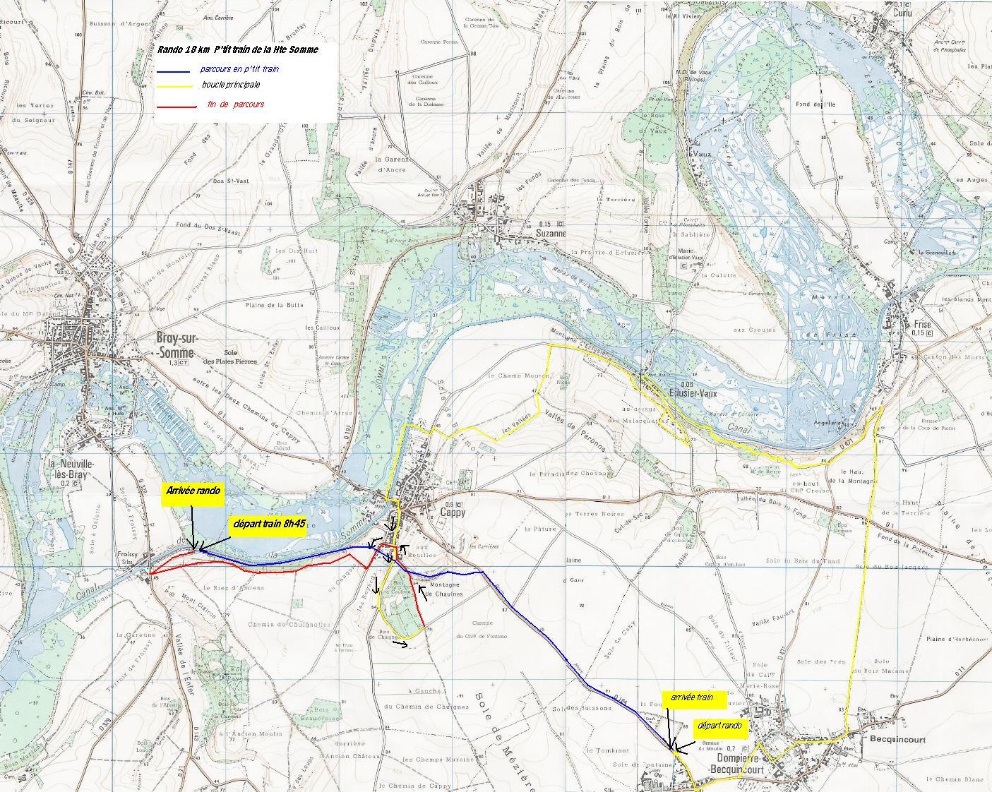 carte parcours rando 18 KM